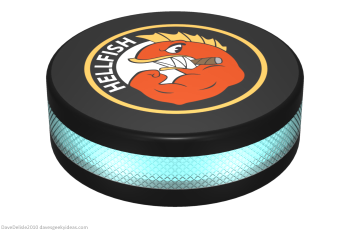 TRON hockey puck design by Dave Delisle davesgeekyideas