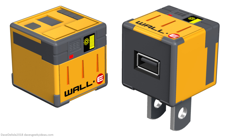 WALL-E USB Wall Adapter design 2018 Dave Delisle davesgeekyideas