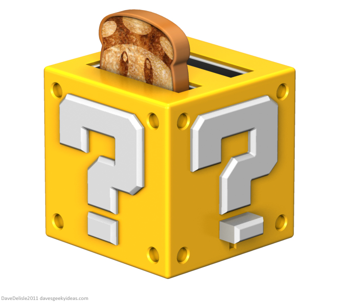 Super Mario Question Block Toaster Design 2011 Dave Delisle dave's geeky ideas davesgeekyideas