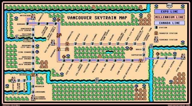 The Vancouver Skytrain map, done in the Super Mario Bros. 3 map style by Dave Delisle