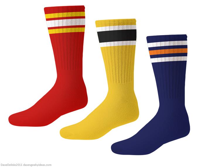NHL socks calgary flames boston bruins edmonton oilers 2011 Dave Delisle davesgeekyideas