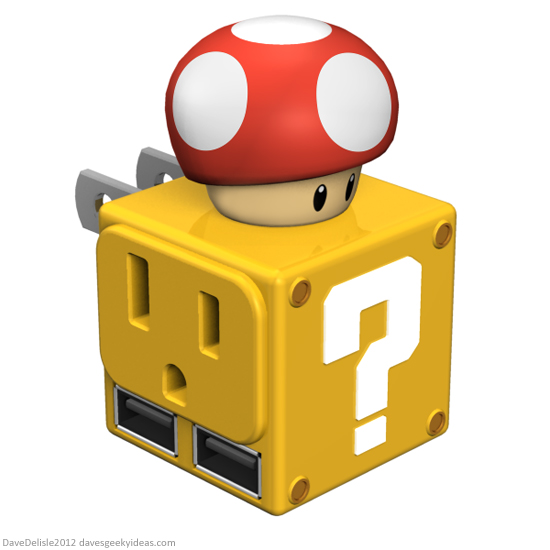Mario Nintendo USB Wall Adapter Question Block design by Dave Delisle davesgeekyideas