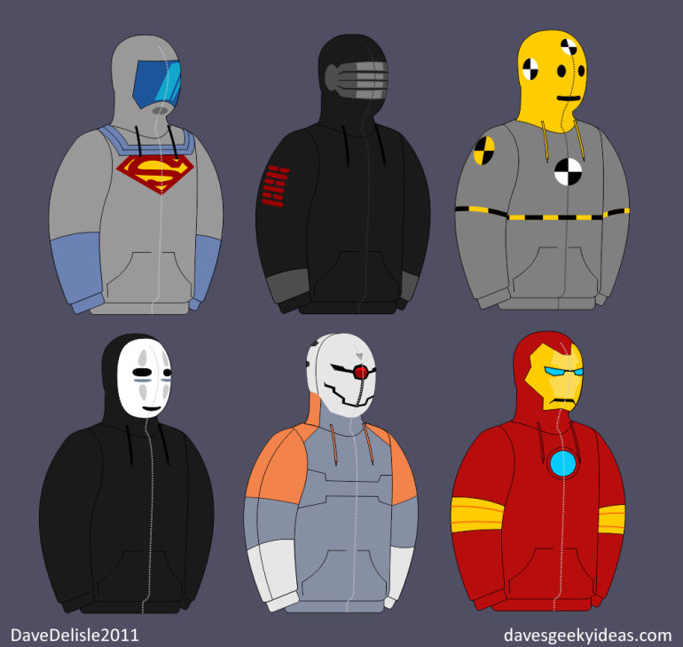 Superman Hoodie Snake Eyes MGS Ninja Spirited Away Iron Man davesgeekyideas.com