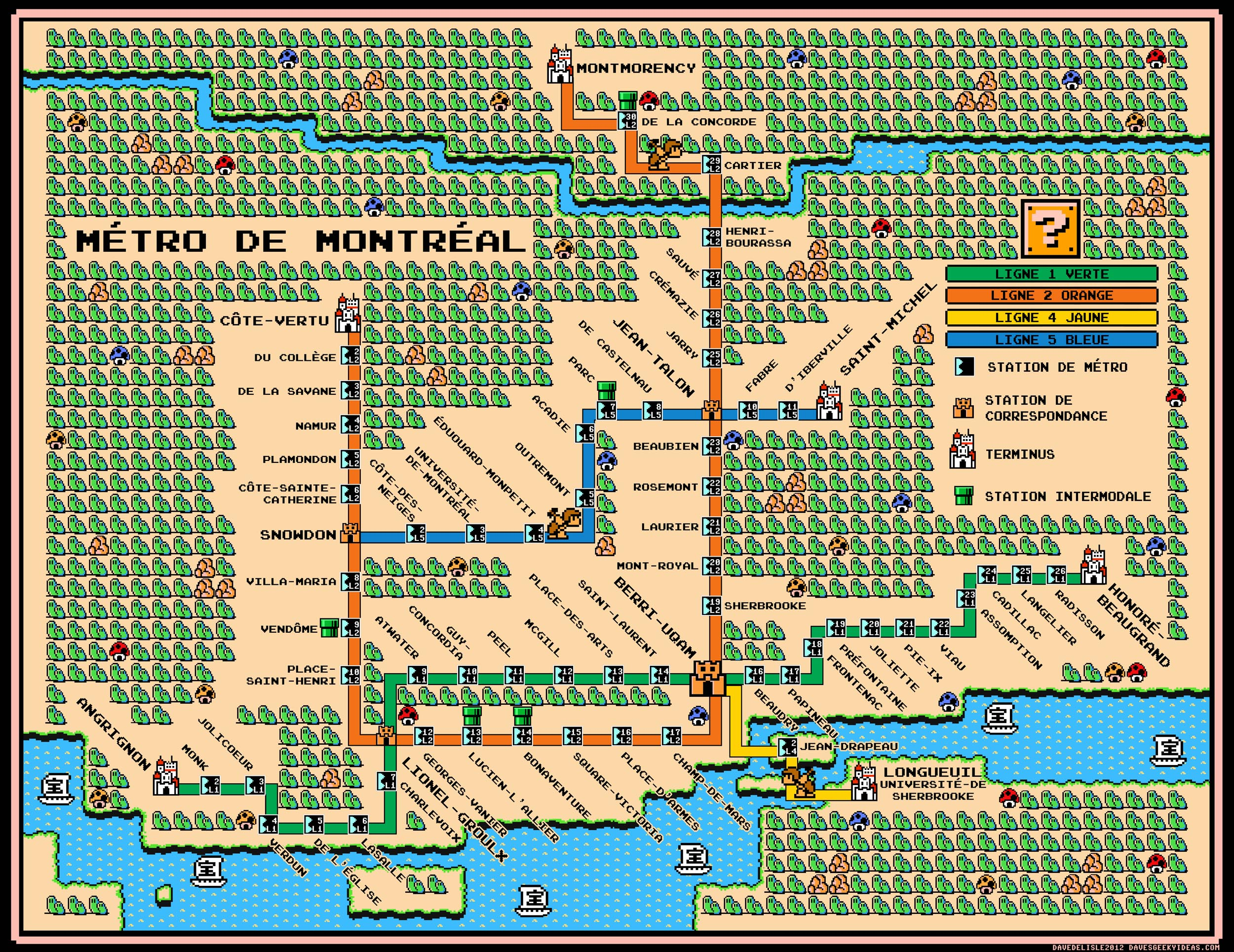 Montrela Subway Map.Montreal Metro Map Super Mario 3 Style Dave S Geeky Ideas
