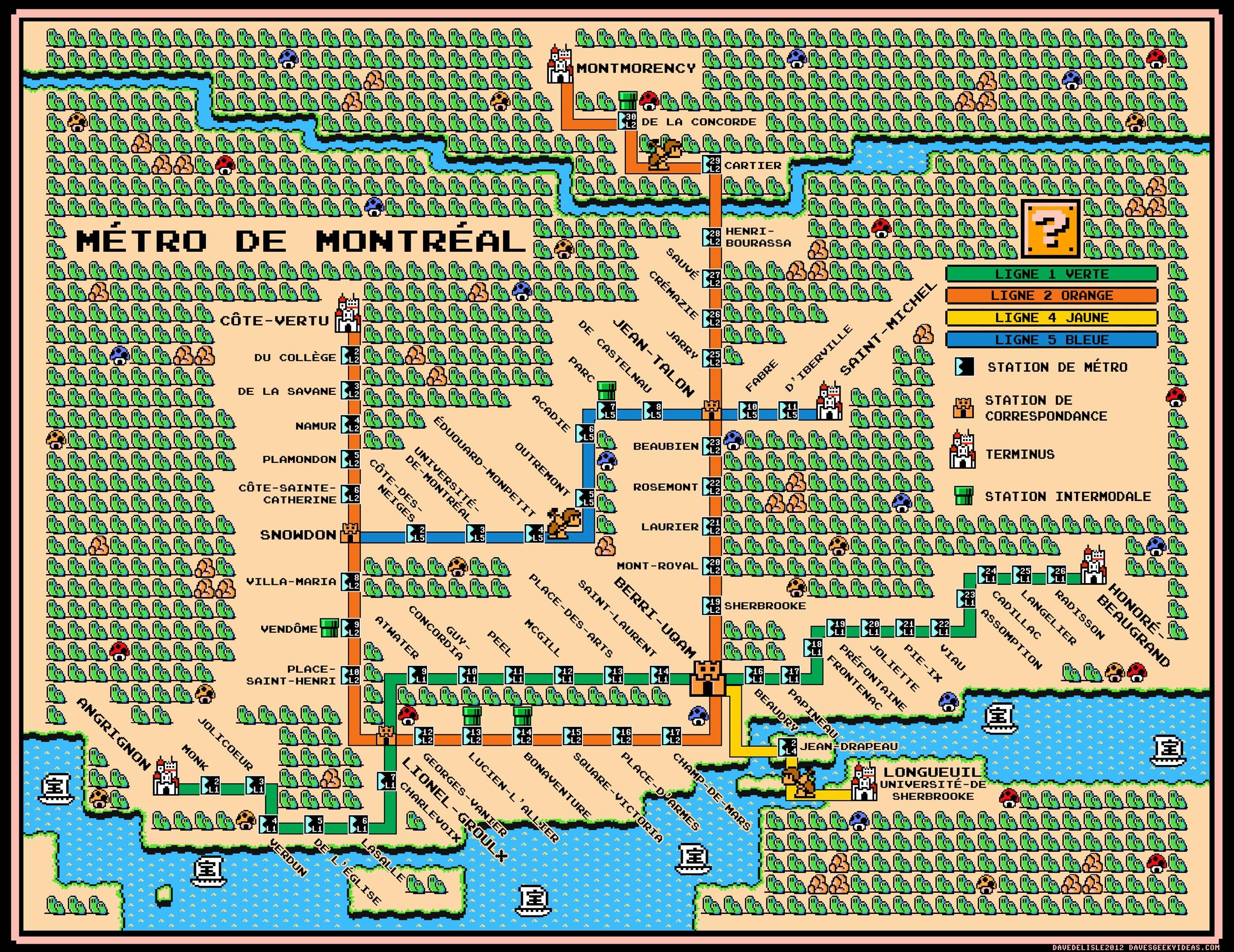 Montreal Metro Map  Super Mario  Style Daves Geeky Ideas - Washington dc map subway
