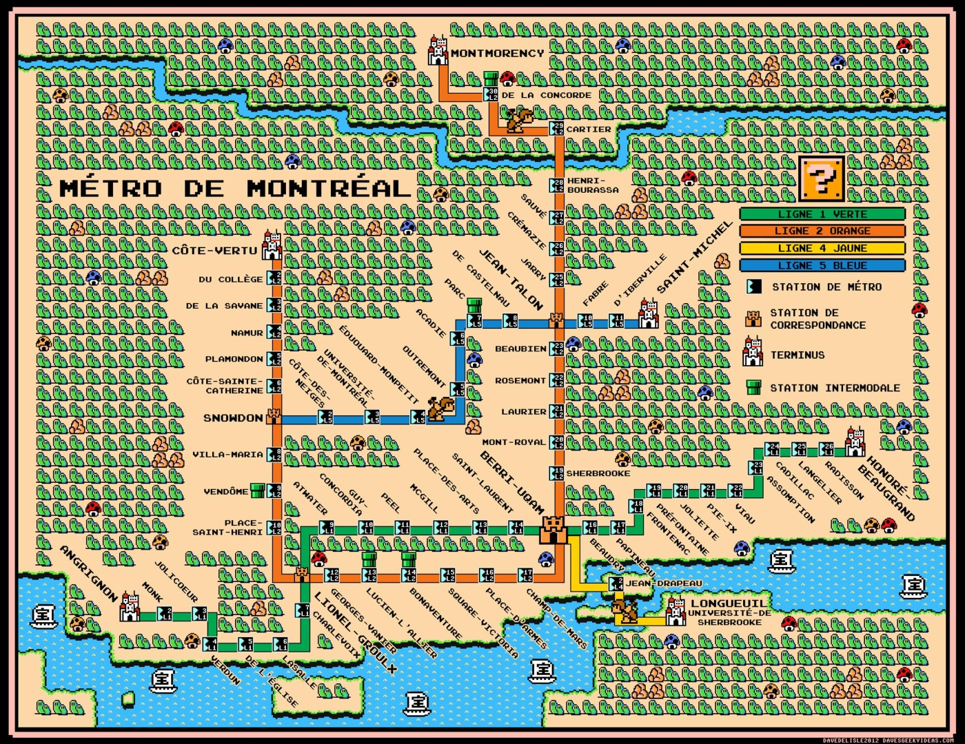 Montreal Subway Map.Montreal Metro Map Super Mario 3 Style Dave S Geeky Ideas
