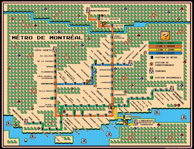 Subway Montreal Map.Montreal Metro Map Super Mario 3 Style Dave S Geeky Ideas