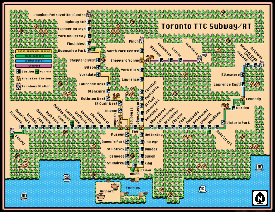 Toronto TTC Subway RT Map Super Mario 3