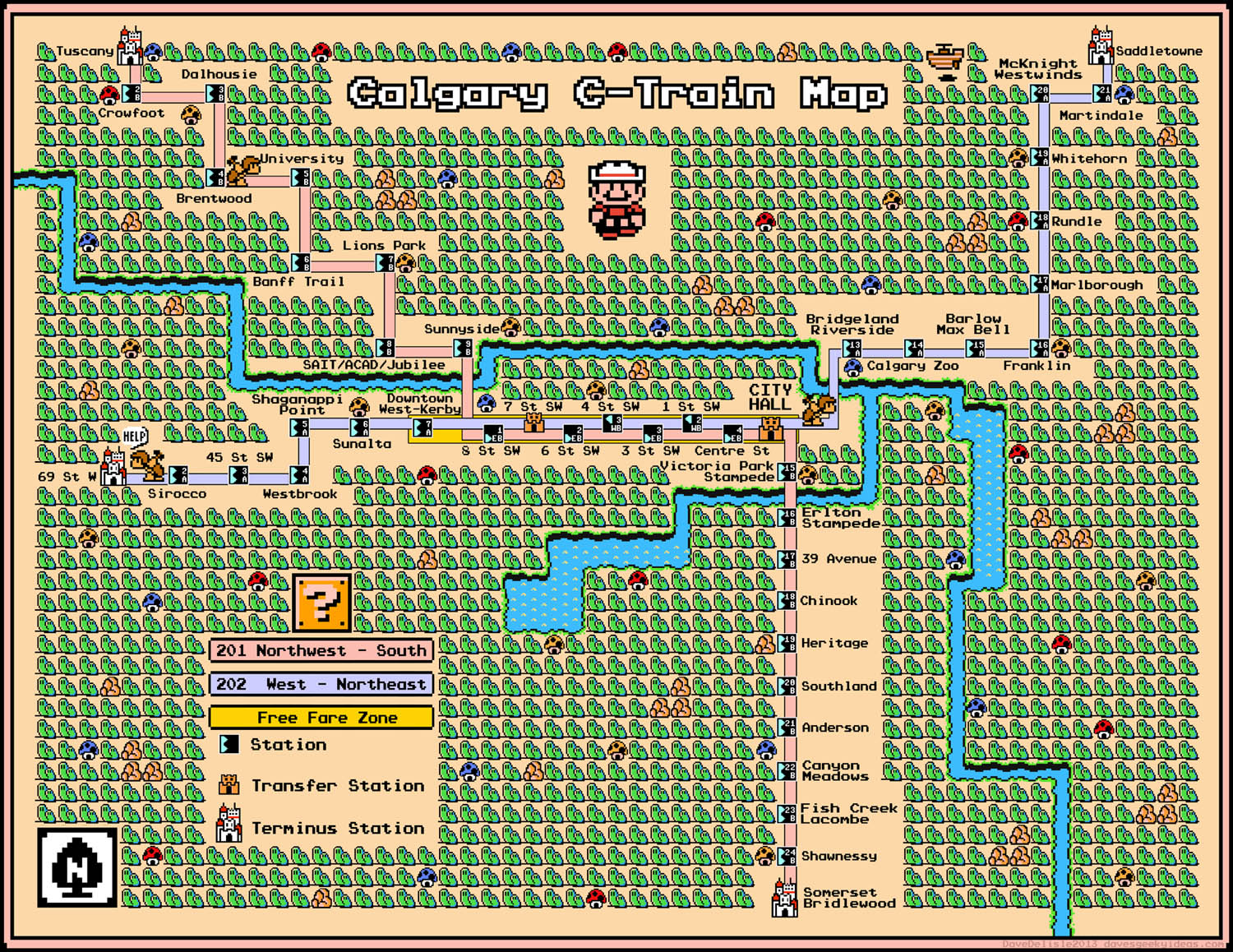 Calgary CTrain Map Super Mario 3 Style Second Edition Daves