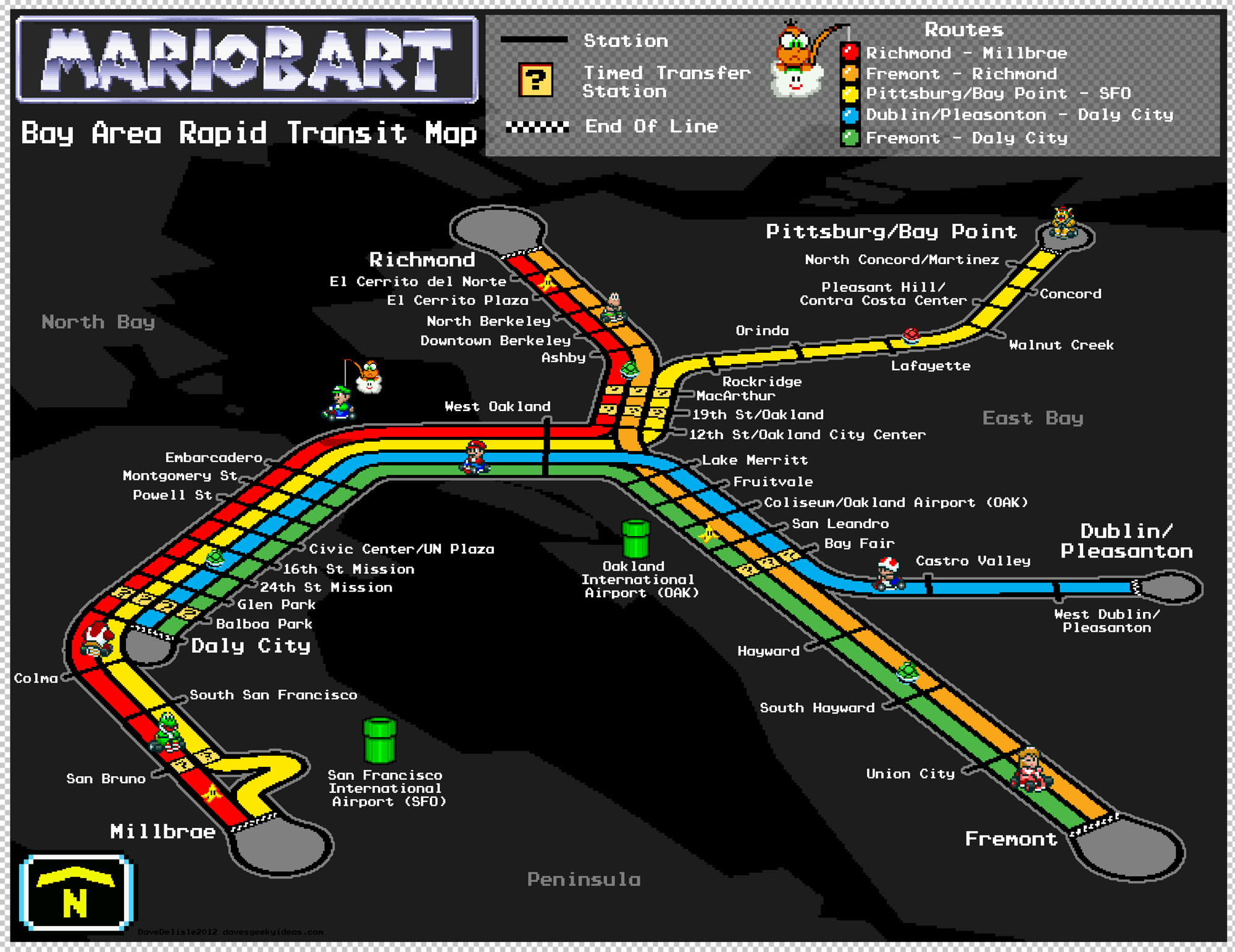 Bay Area Rapid Transit Map – Super Mario Kart Style – Dave's