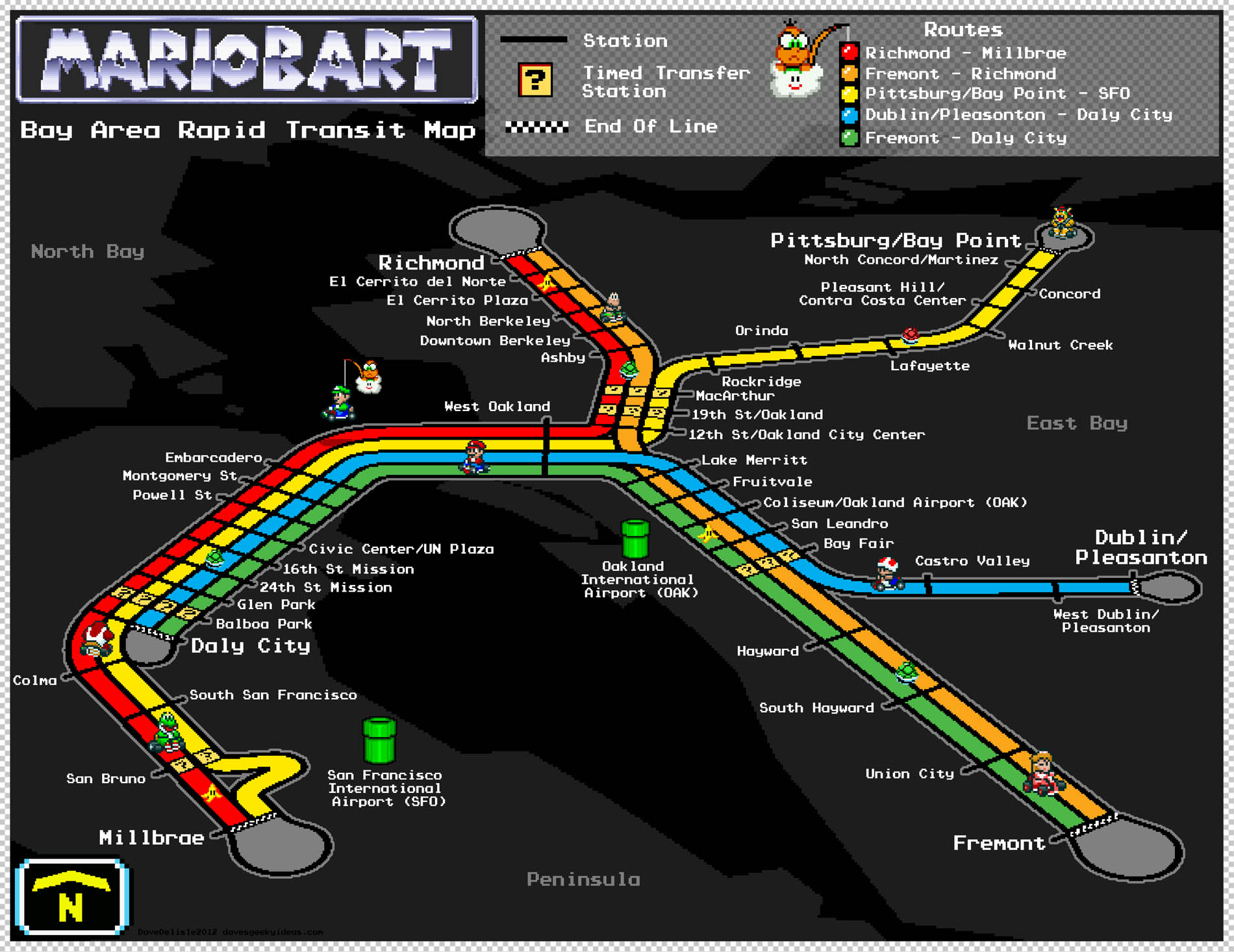 Bay Area Rapid Transit Map – Super Mario Kart Style – Dave\'s Geeky Ideas