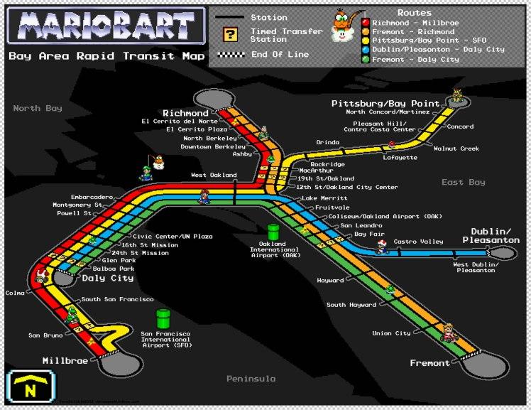 BART Map San Francisco Oakland Airport Rail Super Mario Kart Track 2012 Dave Delisle davesgeekyideas.com