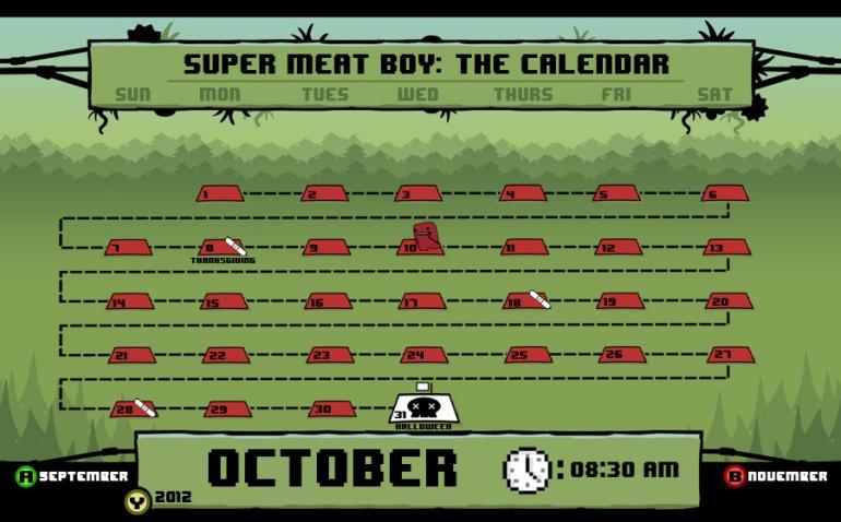 Super Meat Boy Calendar 2012 2013 Dave Delisle davesgeekyideas.com
