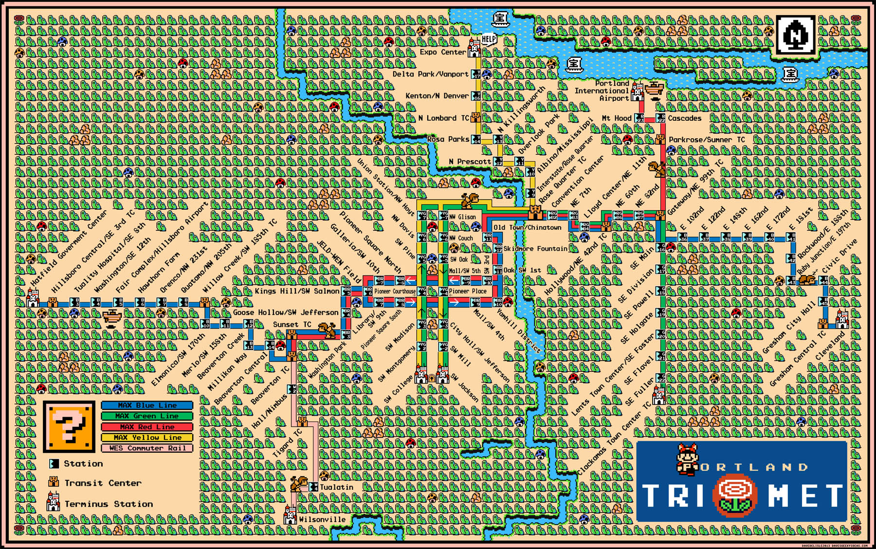 Portland s MAX LRT Map Super Mario 3 Style Dave 39 s Geeky Ideas