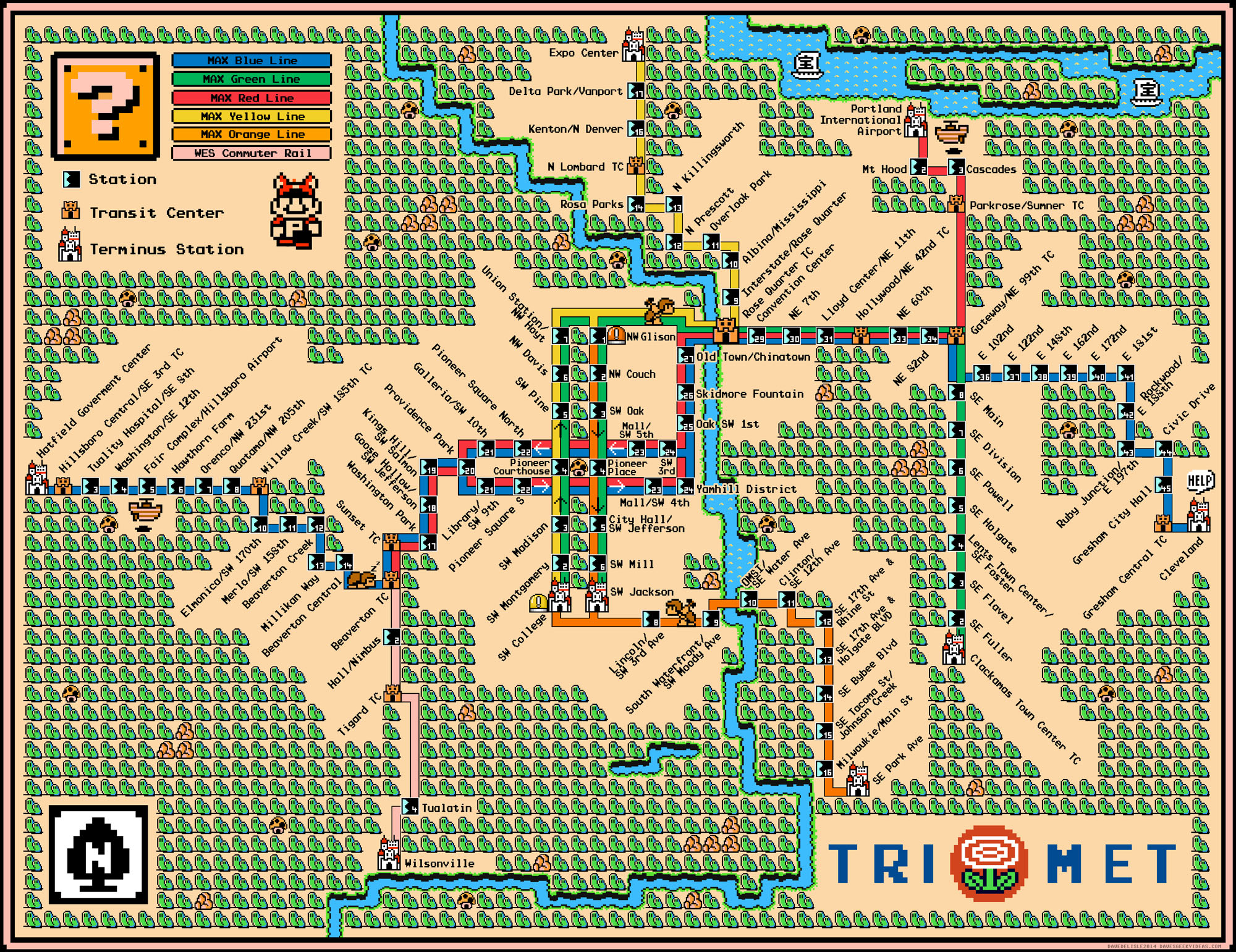 Portlands MAX LRT Map  Super Mario 3 Style  Dave39s