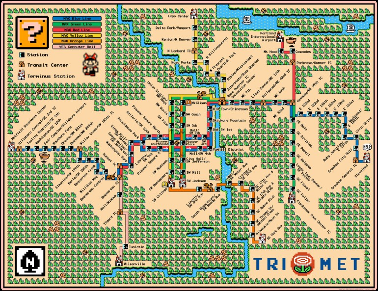 Portland Trimet Map 2015 by davegeekyideas