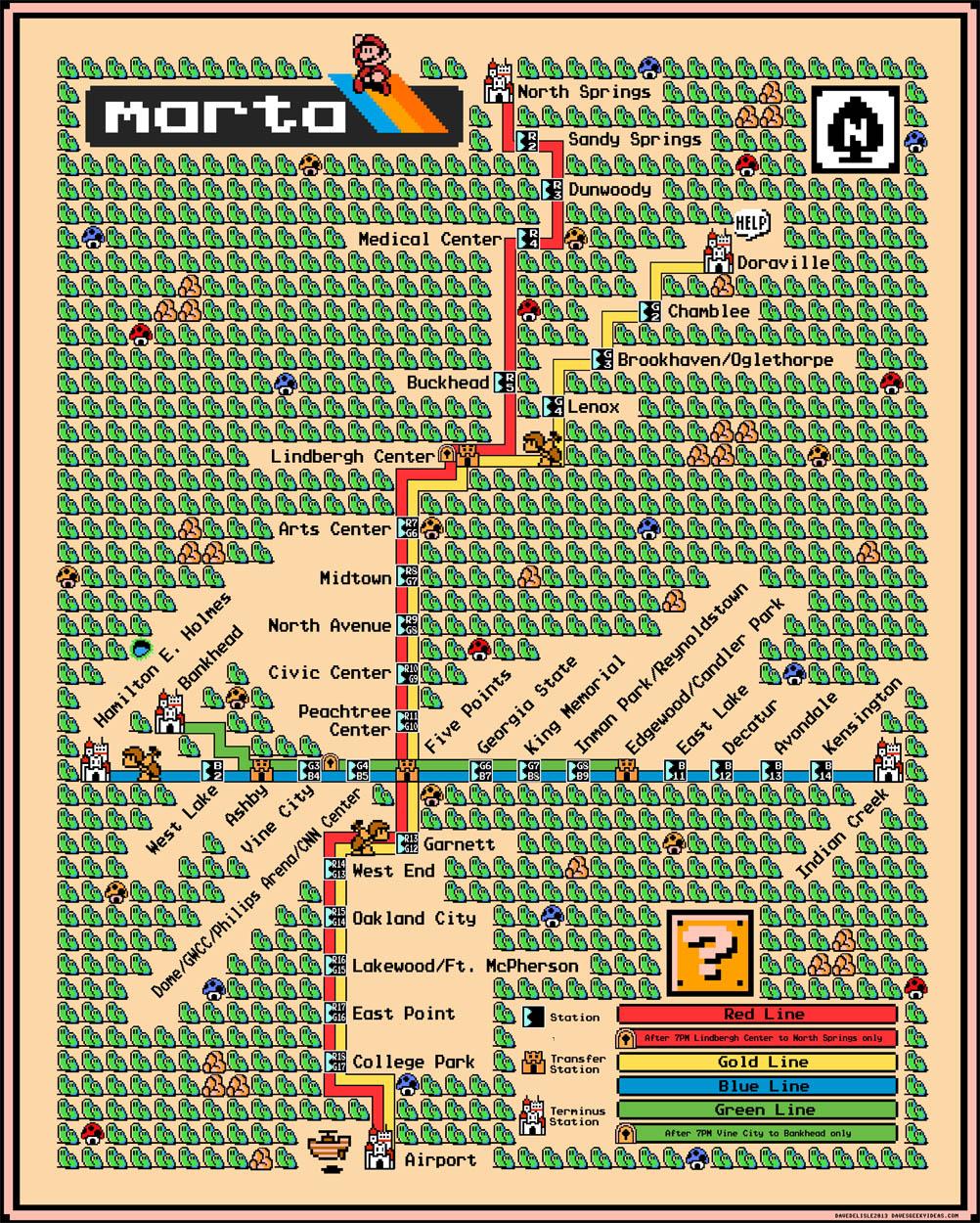 Atlanta S Marta Map Super Mario 3 Style Dave S Geeky Ideas