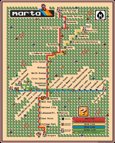Atlanta's MARTA map - rapid transit Super Mario 3 Style 2013 Dave Delisle davesgeekyideas.com Cartography