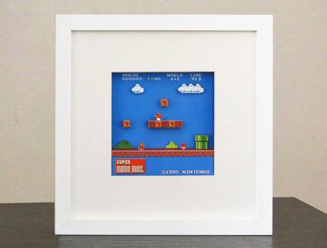 IKEA Ribba Super Mario Bros Diorama Papercraft