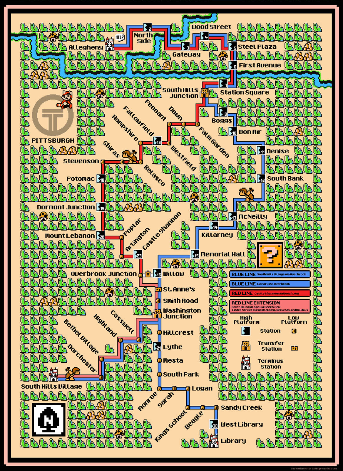 Pittaburgh Subway Map.Pittsburgh Light Rail Map Super Mario 3 Style Dave S Geeky Ideas