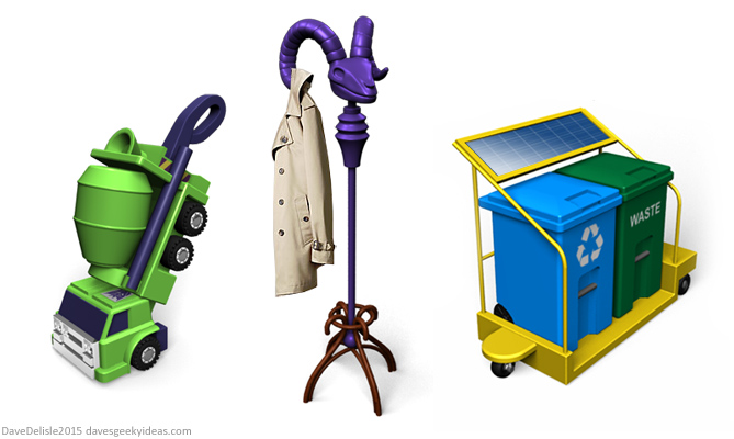 Transformers Vacuum, Skeletor Coat Rack, Automated Driver for Garbage by Dave's Geeky Ideas