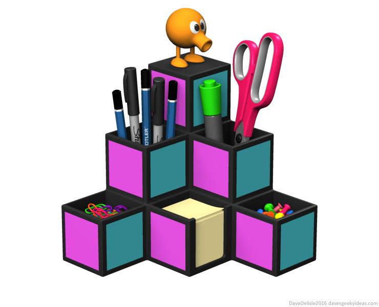 Q-Bert desk organizer by Dave Delisle davesgeekyideas design dave's geeky ideas