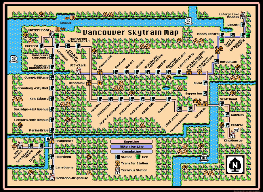 Vancouver Skytrain 2017 map by Dave Delisle