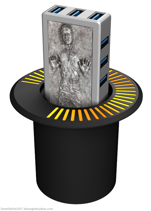 Han Solo in Carbonite USB Desk Grommet or Car Charger by Dave Delisle