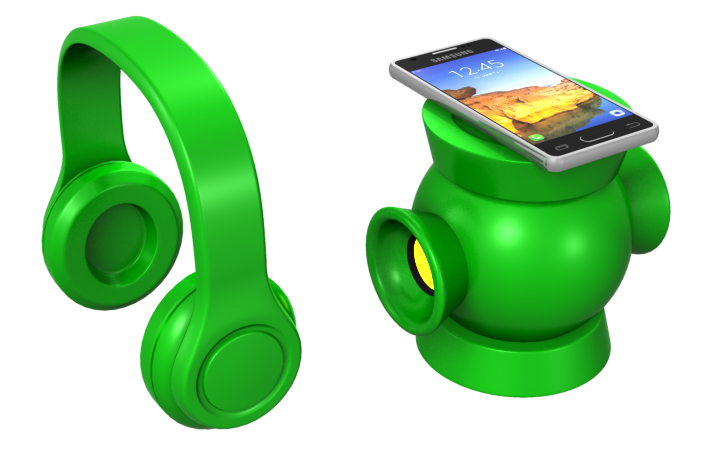 Green Lantern Headset and Speaker by Dave Delisle