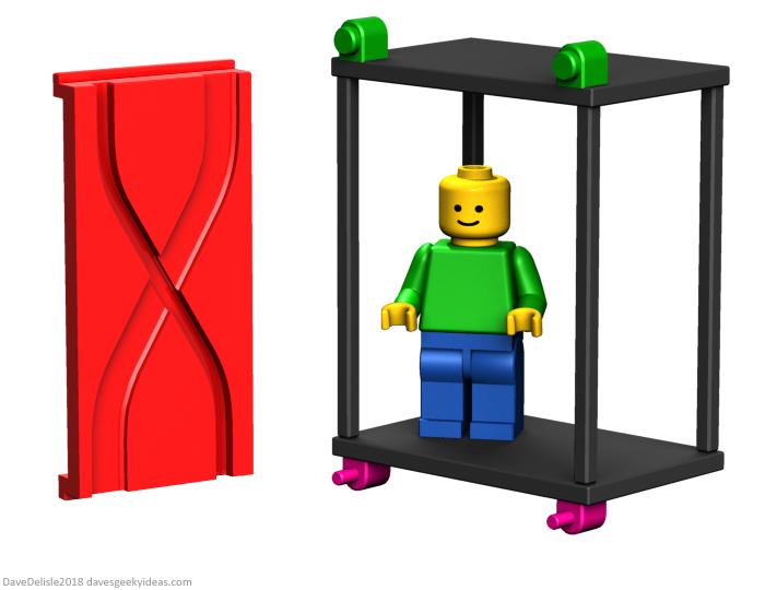 LEGO automatic elevator door design by Dave Delisle 2018 davesgeekyideas