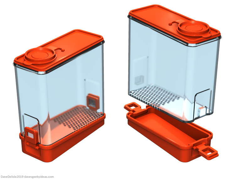 Crumb-buster cereal container tupperware design 2018 Dave Delisle davesgeekyideas Dave's Geeky Ideas