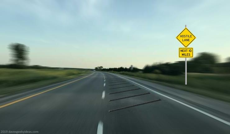 Hostile traffic lane speed bumps highway merging exiting diagram 2019 dave delisle davesgeekyideas