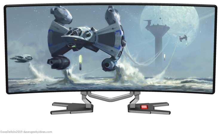 Last Starfighter ultrawide gaming monitor gunstar death blossom stand 2019 dave delisle davesgeekyideas dave's geeky ideas