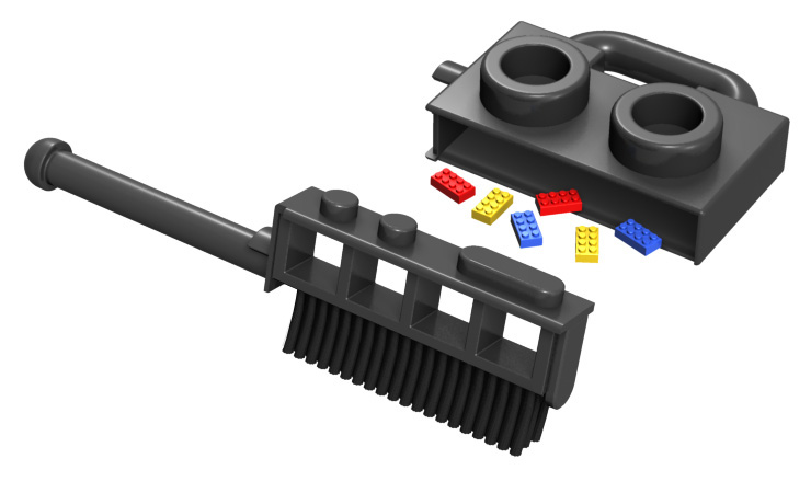 LEGO walkie talkie life size dustpan and brush design 2019 dave delisle davesgeekyideas dave's geeky ideas
