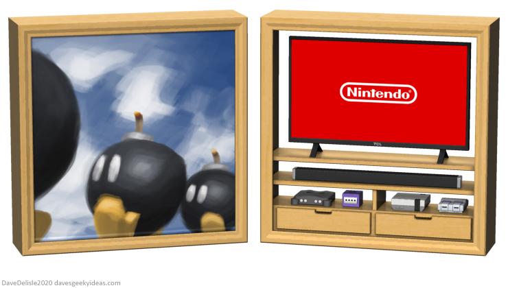 mario 64 tv stand design entertainment unit furniture nintendo 2020 dave delisle davesgeekyideas design
