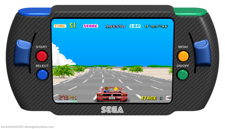 Sega racing handheld anbernic out run arcade PSP portable steering wheel 2020 dave delisle davesgeekyideas